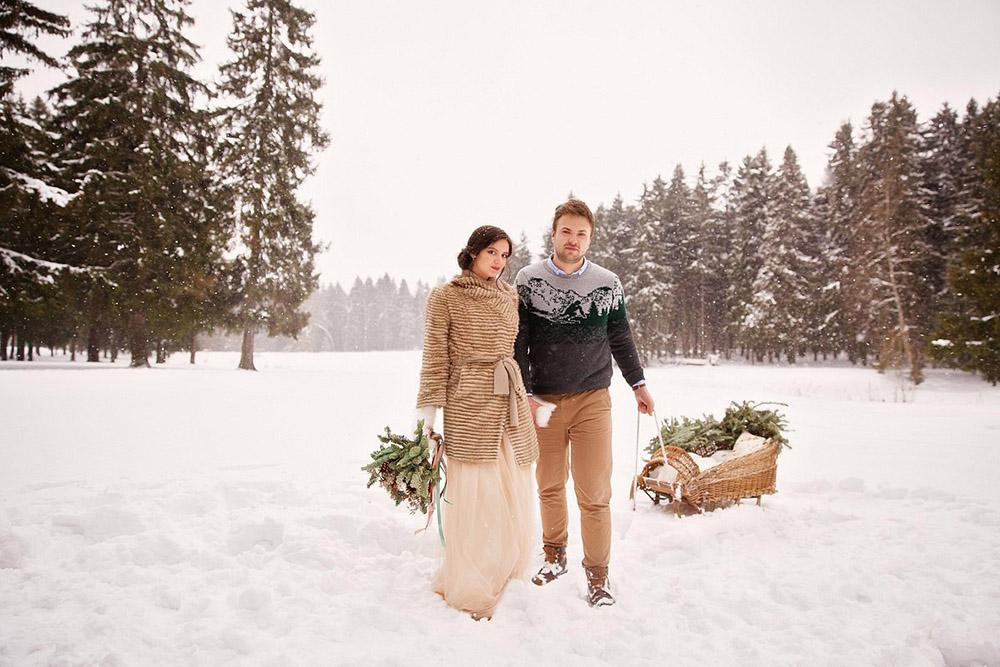 зимняя свадебная фотосессия в лесу